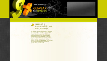 Maqueta de web de Guasax a medio hacer
