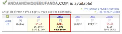 Precio de los dominios .info en GoDaddy